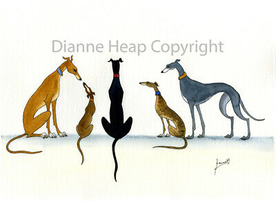 £24.99 • Buy Large 6200 Dianne Heap PAINTING GREYHOUND WHIPPET LURCHER ART DOG PRINT