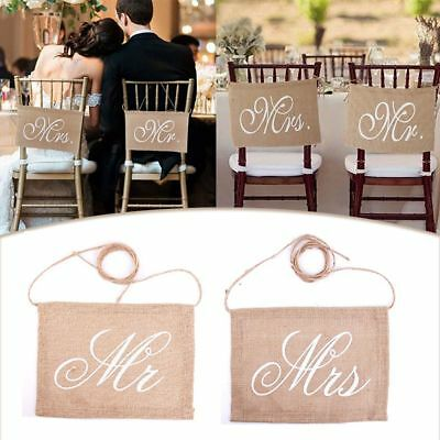Banners Groom Bride Vintage Decoration Chair Sign Burlap Wedding Mr And Mrs • 4.16£