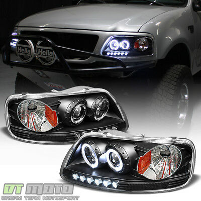$119.99 • Buy Blk 1997-2003 Ford F150 97-02 Expedition LED Halo Projector Headlights Headlamps