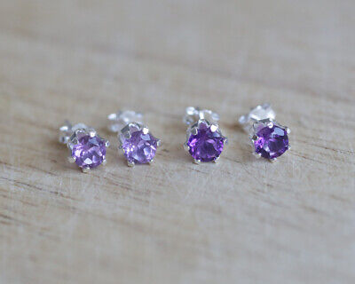 925 Sterling Silver Stud Earrings With Natural Brazilian / African Amethyst  • 8.99£