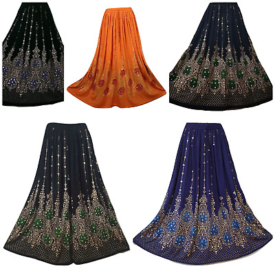Boho Long Skirt Hippie Gypsy Party Sequin Dance Rayon One Size 8 10 12 14 16 • 11.99£