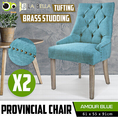 AU209 • Buy 2 X Dining Chair French Provincial Brass Studded Fabric Oak Legs Cafe AMOUR - BU