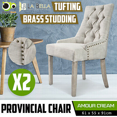 AU249 • Buy 2 X Dining Chair French Provincial Brass Studded Fabric Oak Legs Cafe AMOUR - CR
