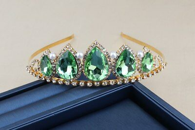 Green Tiara Gold Pearl Diamante Crystals Wedding Prom Bridal Occasions Queen UK  • 16.99£