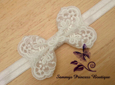 £3.50 • Buy Baby Lace Headband White Ivory Butterfly 3.5 Inchbow Vintage Wedding Christening