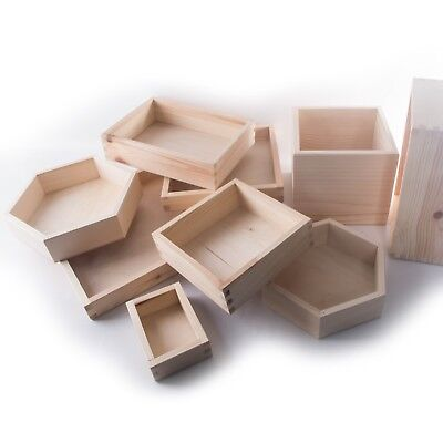 £7.29 • Buy Wooden Plain Non-Lidded Open Top Display Storage Boxes Containers Organisers