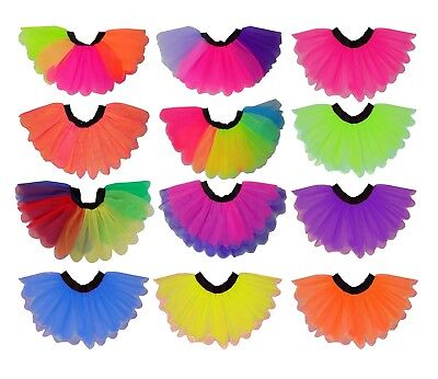 Neon Tutu  80s Fancy Dress Petal Rainbow Multi Colour Hen Party Music Festival • 9.99£
