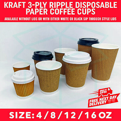 AU15.41 • Buy 4oz 8oz 12oz 16oz Paper Coffee Tea Cups Strong For Hot & Cold Drinks Vending