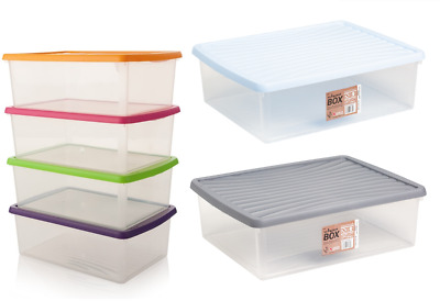 Wham Plastic A3 Paper Storage Large Box Clear Colour Lid Stackable 23.5L • 12.89£