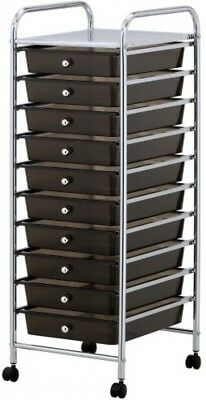 £67.19 • Buy 10 Drawer Rolling Trolley Office Beauty Make Up Accessories Papers Storage Black