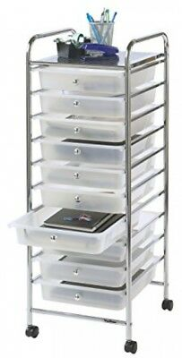 £52.52 • Buy 10 Drawer Rolling Trolley Office Beauty Make Up Accessories Papers Storage White