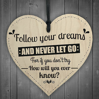 £3.99 • Buy Follow Your Dreams Motivational Wooden Hanging Heart Sign Friendship Gift Quote