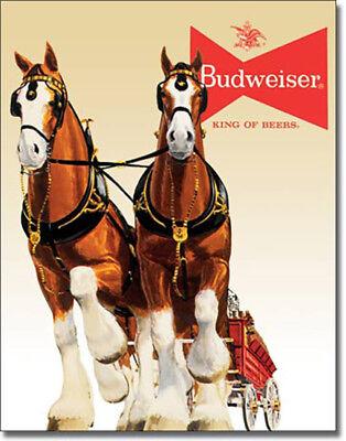 $ CDN25.25 • Buy Budweiser Clydesdale Team Horse Anheuser Busch Bud Lager Beer Alcohol Metal Sign