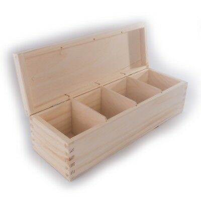 Rectangular Wooden Box / 4 Sections Compartments /Trinket Keepsake Memory Craft  • 9.15£