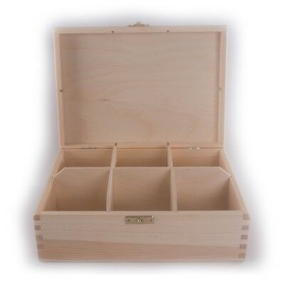 Plain Wooden Storage Box With Lid Clasp & 6 Compartments /22.7x16.5cm /For Craft • 9.95£