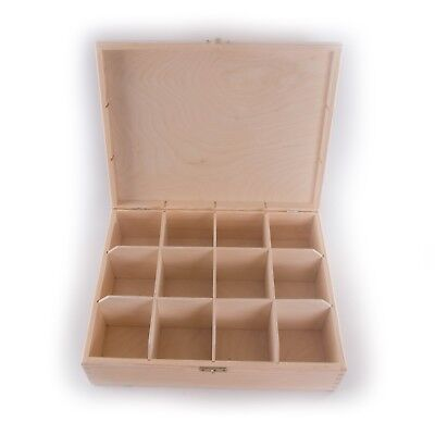 Wooden Box With 12 Compartments / 28.5x22.5cm / Plain Keepsake Box To Decorate • 13.95£