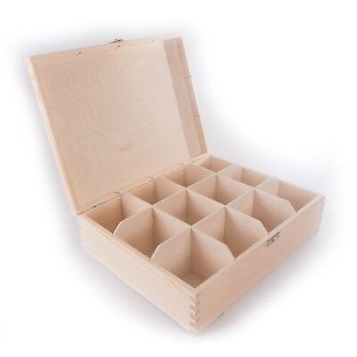 Wooden Storage Box With Lid Clasp & 12 Sections Compartments / Tea Bag Box Craft • 13.95£