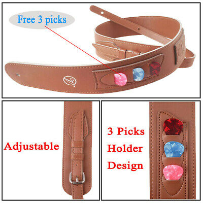 $ CDN20.44 • Buy Adjustable Guitar Strap Belt With Picks Holder For Acoustic Electric Guitar