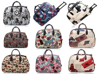 New Flight Approved Butterfly Print 2 Wheel Carry On Travel Suitcase Luggage Bag • 19.99£