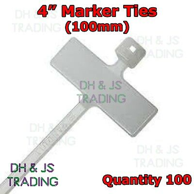 £2.65 • Buy 100 X 4  Cable Tie Marker I.D Tie 100mm With Write On Tab Label Tag Wire Wiring