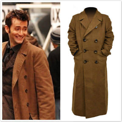 10th Doctor Who Th Dr. Ten Brown Long Coat Trench Jacket Cosplay Costume JJ.25 • 36.10£