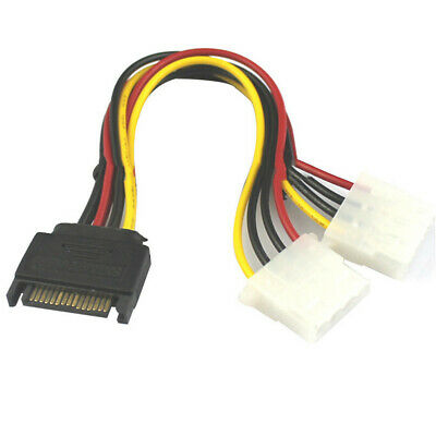 AU3.38 • Buy 15 Pin SATA Male To 4 Pin Molex 2 Female IDE HDD Power Hard Drive Cable Adapter