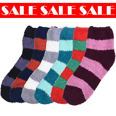 $12.99 • Buy 6 Pcs Women Non Skid Cozy Plush Fluffy Stripes Soft Warm Winter Socks 9-11