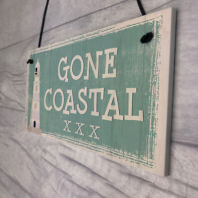 Gone Coastal Shabby Chic Sign Summer Nautical Plaque Beach Seaside Home GIFTS • 3.99£