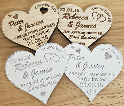 AU111.25 • Buy Personalised Save The Date Wedding Fridge Magnets Wooden Silver Mirror Heart