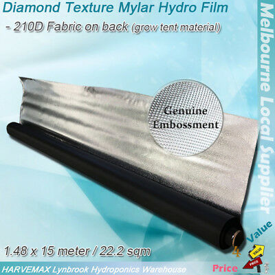 AU89 • Buy 1.48x15M Hydroponic Reflect Diamond Texture Mylar Hydro Film Grow Tent Material