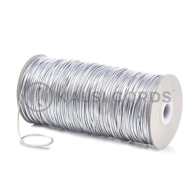 $ CDN5.18 • Buy 2mm THIN ROUND SILVER ELASTIC LUREX METALIC STRETCH CORD SWING TAG GIFT WRAPPING