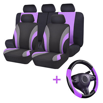 AU56.99 • Buy Universal Car Seat Cover Black Purple Steering Wheel Cover Set Airbag Compatible