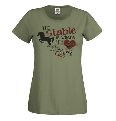 Ladies Olive Green Horse Riding T-Shirt The Stables Equestrian Gymkhana Top • 9.95£