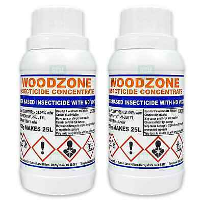 Woodzone 2 Woodworm Killer Timber Treatment Insecticide Fluid Spray -Makes 50Ltr • 32.99£