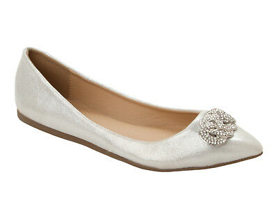 Womens Silver Glitter Diamante Wedding Party Dolly Pumps Shoes Ladies Size 3-8 • 12.99£