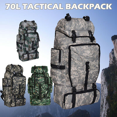 AU19.99 • Buy 70L Outdoor Camping Hiking Backpack Army Military Tactical Rucksack Bag Trekking
