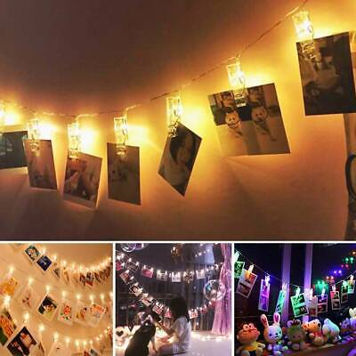 30 Photo Window Hanging Peg Clips LED String Lights Home Party Fairy Decor • 3.99£