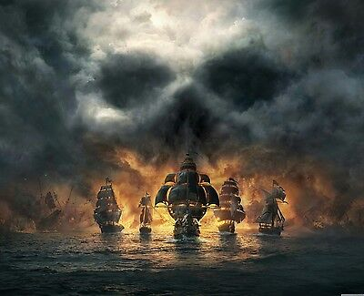 Skull Clouds Pirate Ship Fleet Sea Landscape Wall Framed Canvas Picture 20x30  • 21.99£