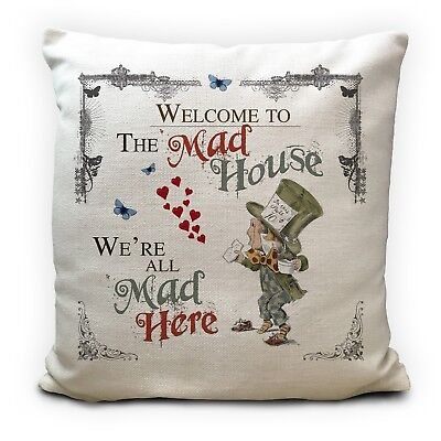£11.99 • Buy ALICE IN WONDERLAND Cushion Cover Mad Hatter Mad House Vintage Gift 16 Inches