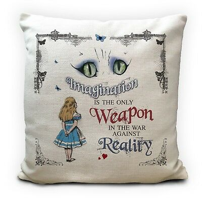 ALICE IN WONDERLAND Cushion Cover Cheshire Cat Imagination Vintage Gift 16 Inch • 11.99£