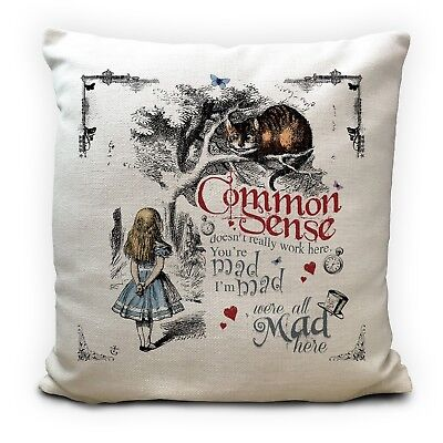 ALICE IN WONDERLAND Cushion Cover Cheshire Cat Common Sense Vintage Gift 16 Inch • 11.99£