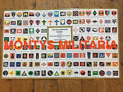 Excellent WW2 British Army Formation Badges Div Signs Identification Poster  • 6.49£
