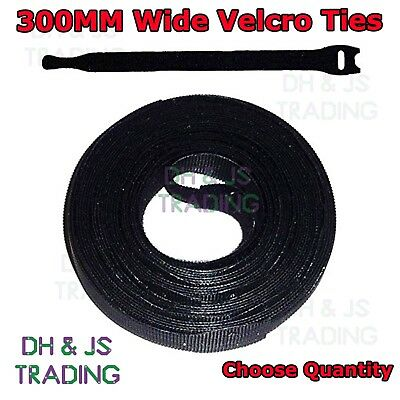 300mm Velcro Cable Ties One Wrap Reusable Cable Tie Wrap Double Sided Strapping • 1.45£