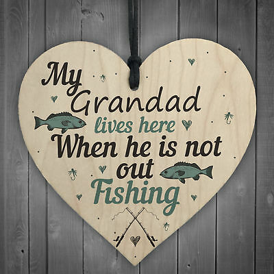 £3.99 • Buy Grandad Lives Here CARP Fishing Wooden Signs Fathers Day Dad Gone Fishing GIFTS