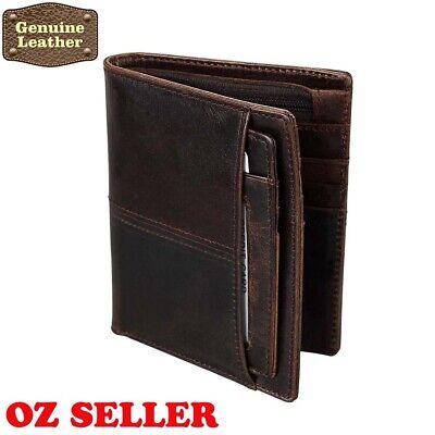 AU14.36 • Buy Premium Real Genuine Leather Mens Purse Bifold Brown Business Credit Card Wallet