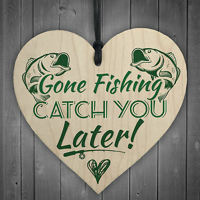 £3.99 • Buy Gone Fishing Catch You Later Novelty Wooden Plaque Fisherman Dad Daddy Gift Sign