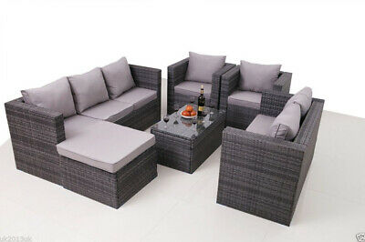 View Details 8 SEATER NEW RATTAN GARDEN FURNITURE SET SOFA TABLE CHAIRS - PATIO CONSERVATORY • 599.99£