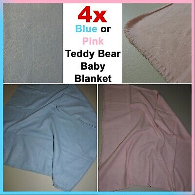 AU5 • Buy Newborn Infant Baby Blanket - Blue Or Pink Teddy Bears - Soft Warm Swaddle Wrap