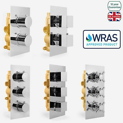 1 / 2 / 3 Way Chrome Concealed Thermostatic Shower Mixer Valve Solid Brass WRAS • 89.99£