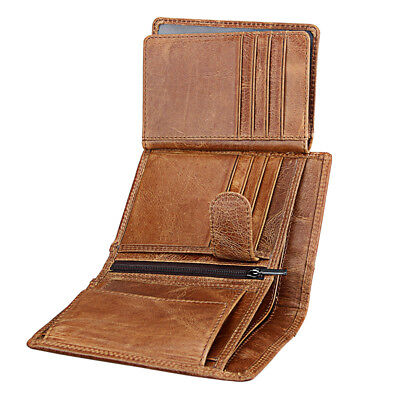 AU19.51 • Buy Genuine Leather Men Wallet Cowhide Anti RFID Vintage Card Holder Coin Purse